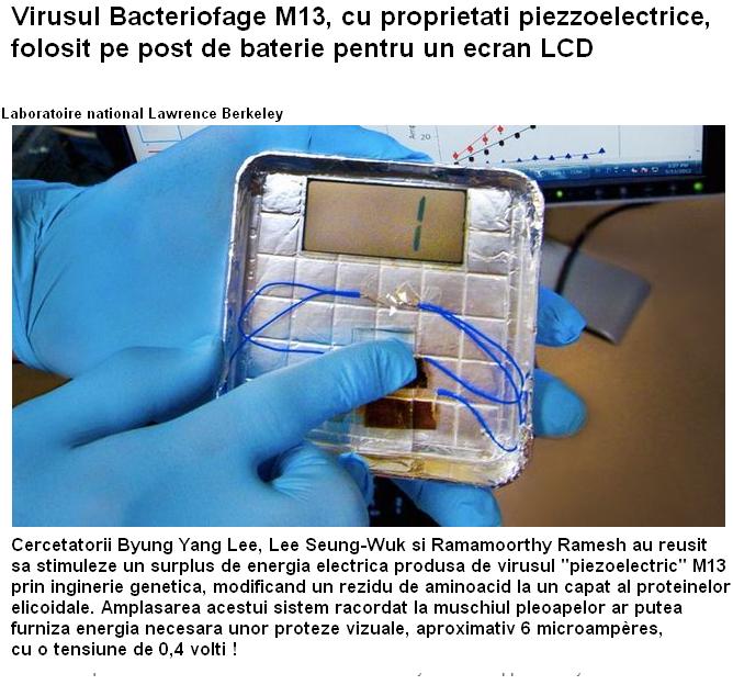 Generator bioelectric pe bază de virusuri